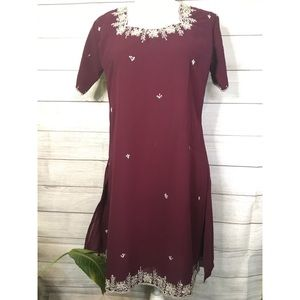 Tops - Maroon Beaded Shirt